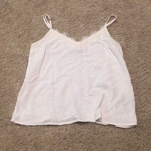 White cotton tank with lace edge